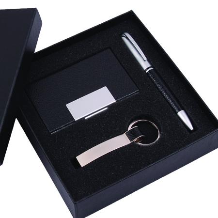 Kit Corporativo com Porta Cartões, Chaveiro e Caneta
