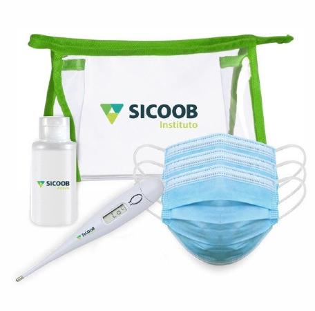 Kit de Proteção com Álcool Gel 3 Máscaras e Termômetro